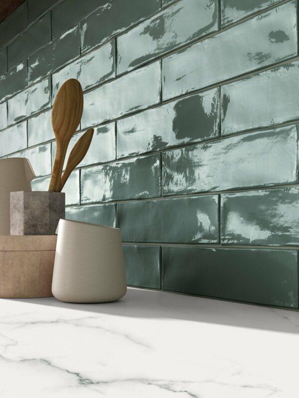 Crossroads Brick Sage ceramic tiles kitchen wall