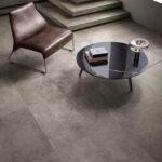 Hyper Taupe porcelain tiles flooring living space