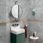 Blue savoy grey porcelain tile bathroom wall