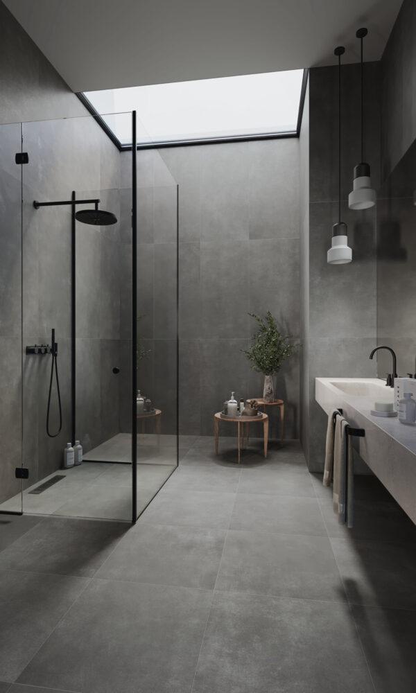 Work coal porcelain tiles bathroom