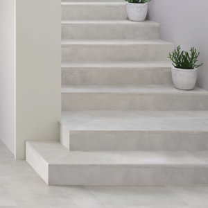 Outdoor porcelain work bianco stairs