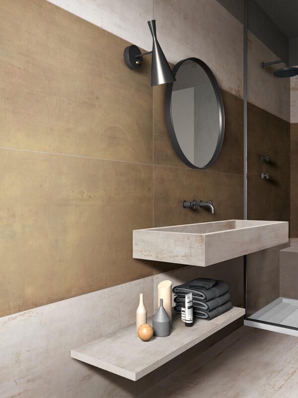 Bronze metallic Rebel porcelain tile