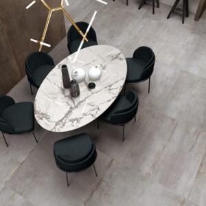 Silver metallic Rebel porcelain tile
