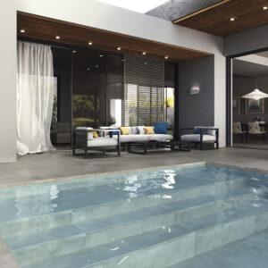 Outdoor porcelain work cenere swimming pool